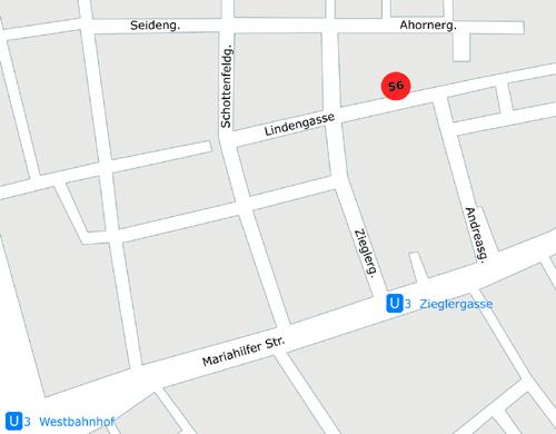 Zugang: Hofeinfahrt hinten, Hoftrakt, 2. Stiege, Tür 20